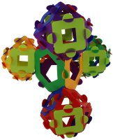 Four cuboctahedra connected to a truncated tetrahedron